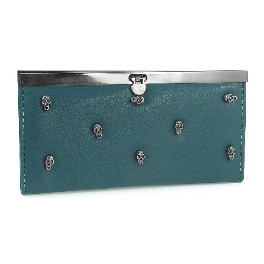 Lady Faux Leather Skull Decoration 4-Compartment Wallet Teal Green