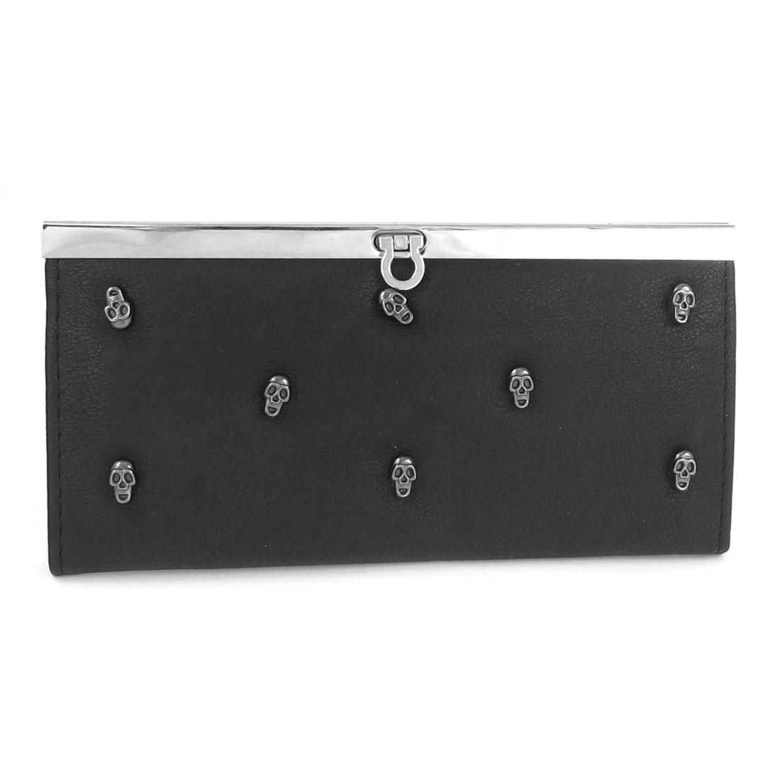 Lady Faux Leather Skull Decor 4 Compartment Flip Lock Closure Purse Black