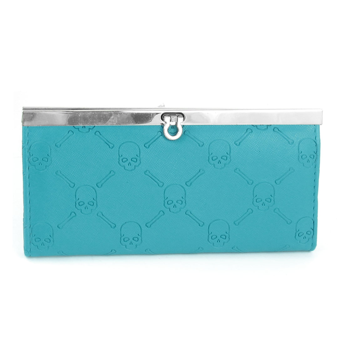 Ladies 4 Compartment Skull Print Light Blue Faux Leather Purse Wallet