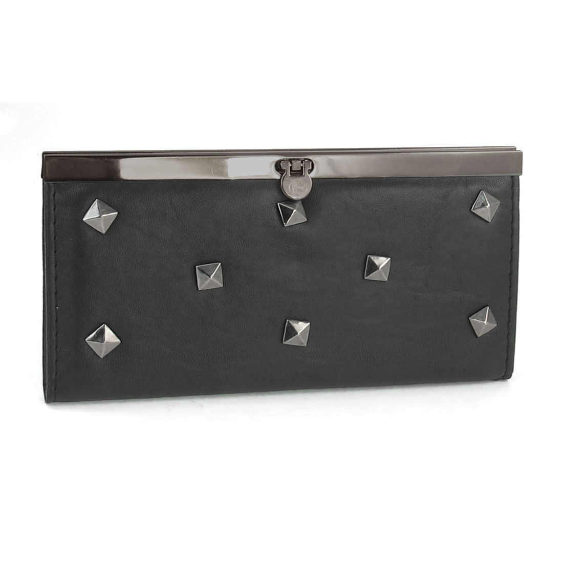 Ladies Faux Leather Metallic Studs Flip Lock Closure Wallet Purse Black