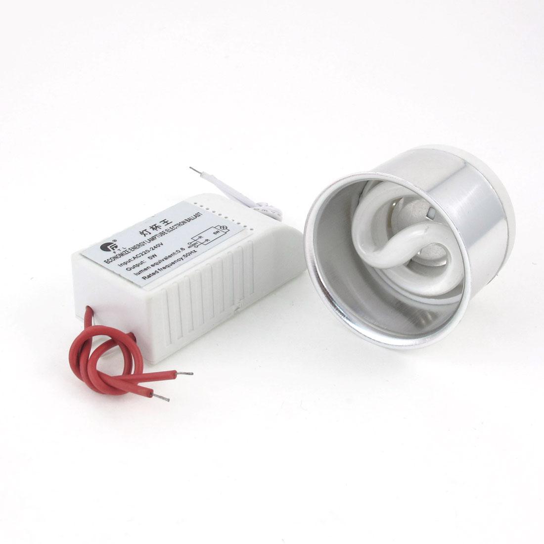 AC 220-240V 5W Economize Energy Lamp Tube Fluorescent Lamps Electronic Ballast