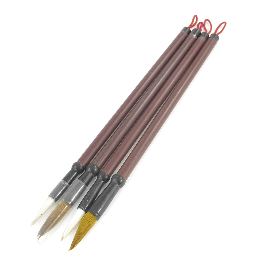 4 Pcs Bamboo Shaft Chinese Calligraphy Writing Brush Pen Brown Black