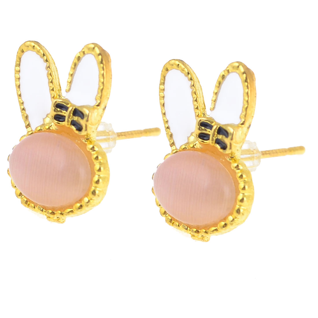 Pair Faux Crystal Rabbit Accent Ear Stud Earrings Gold Tone for Women