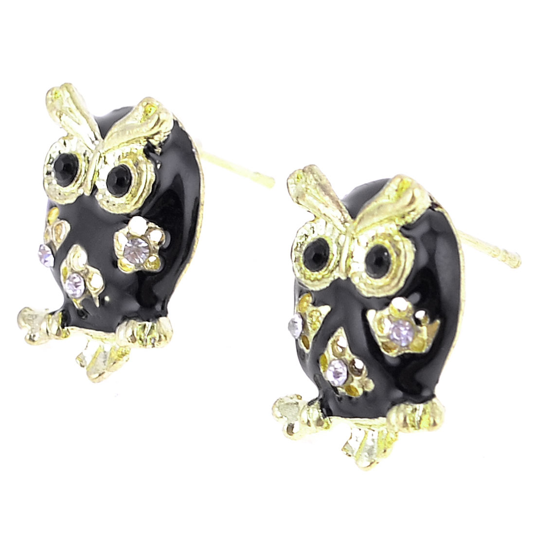 Pair Ear Ornament Owl Detail Alloy Earbob Earrings for Lady