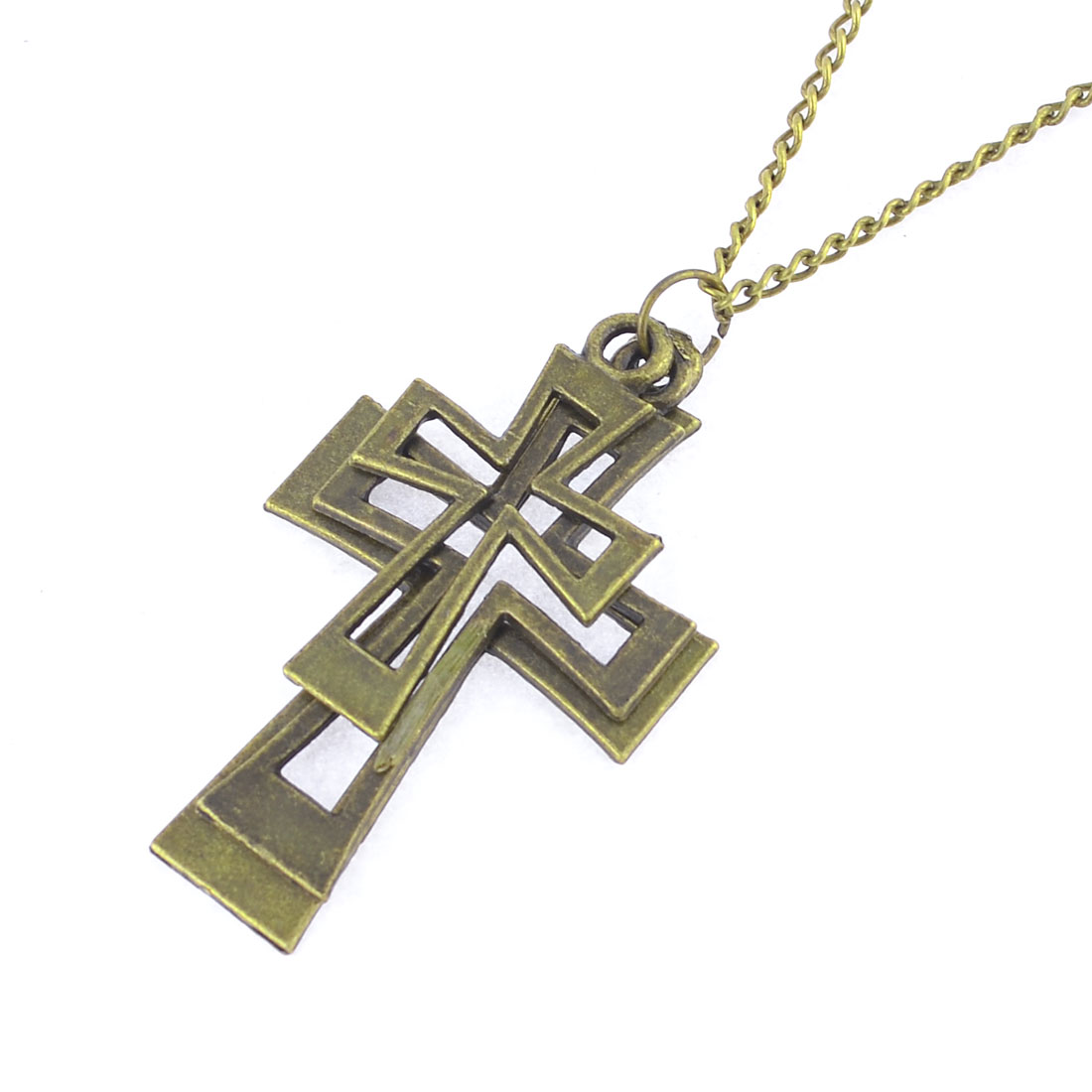 Lady Cut Out Cross Pendant Clothes Decor Gold Tone Sweater Chain Necklace