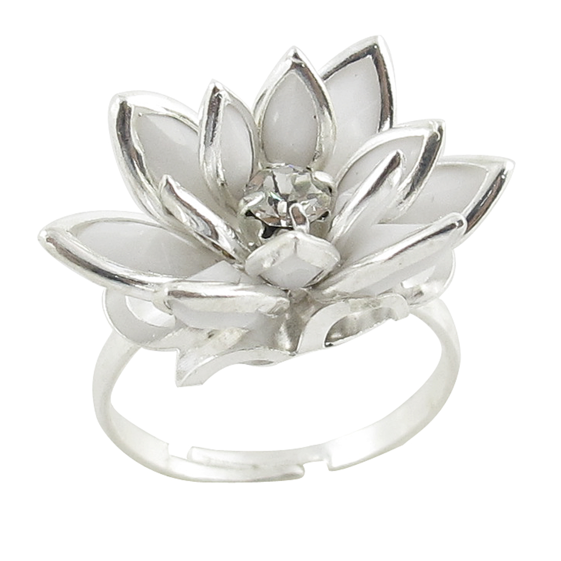 White Lotus Design Silver Tone Metal US 6 1/2 Finger Ring for Ladies