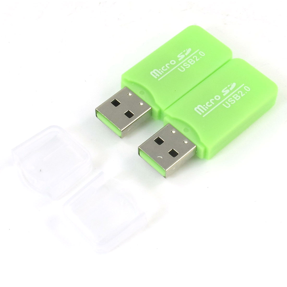 2 Pcs Light Green Plastic Houseing USB 2.0 Micro SD Memory Card Reader