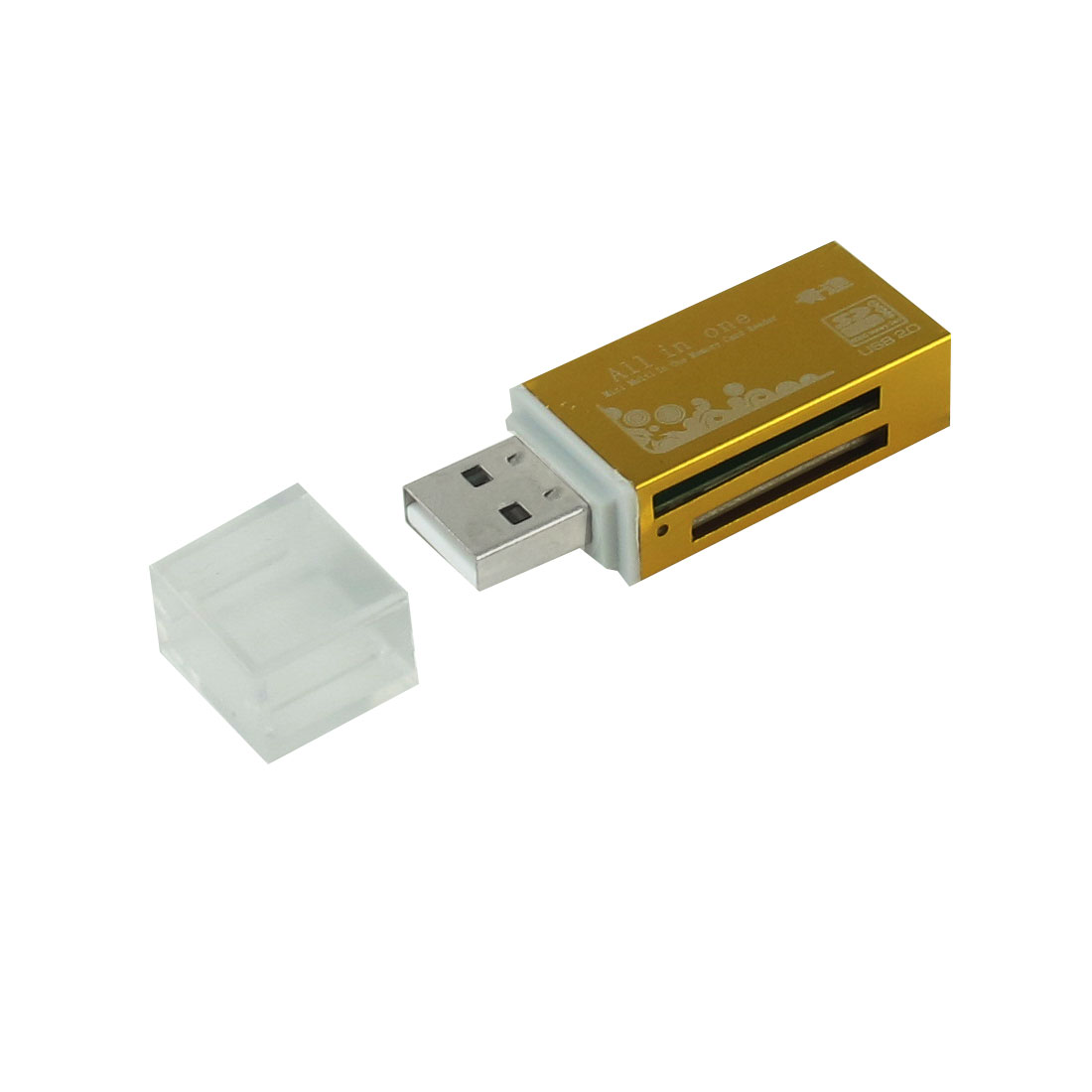 Gold Tone Plastic Shell Clear Lid USB 2.0 Interface SD TF MMC RSMMC Memory Card