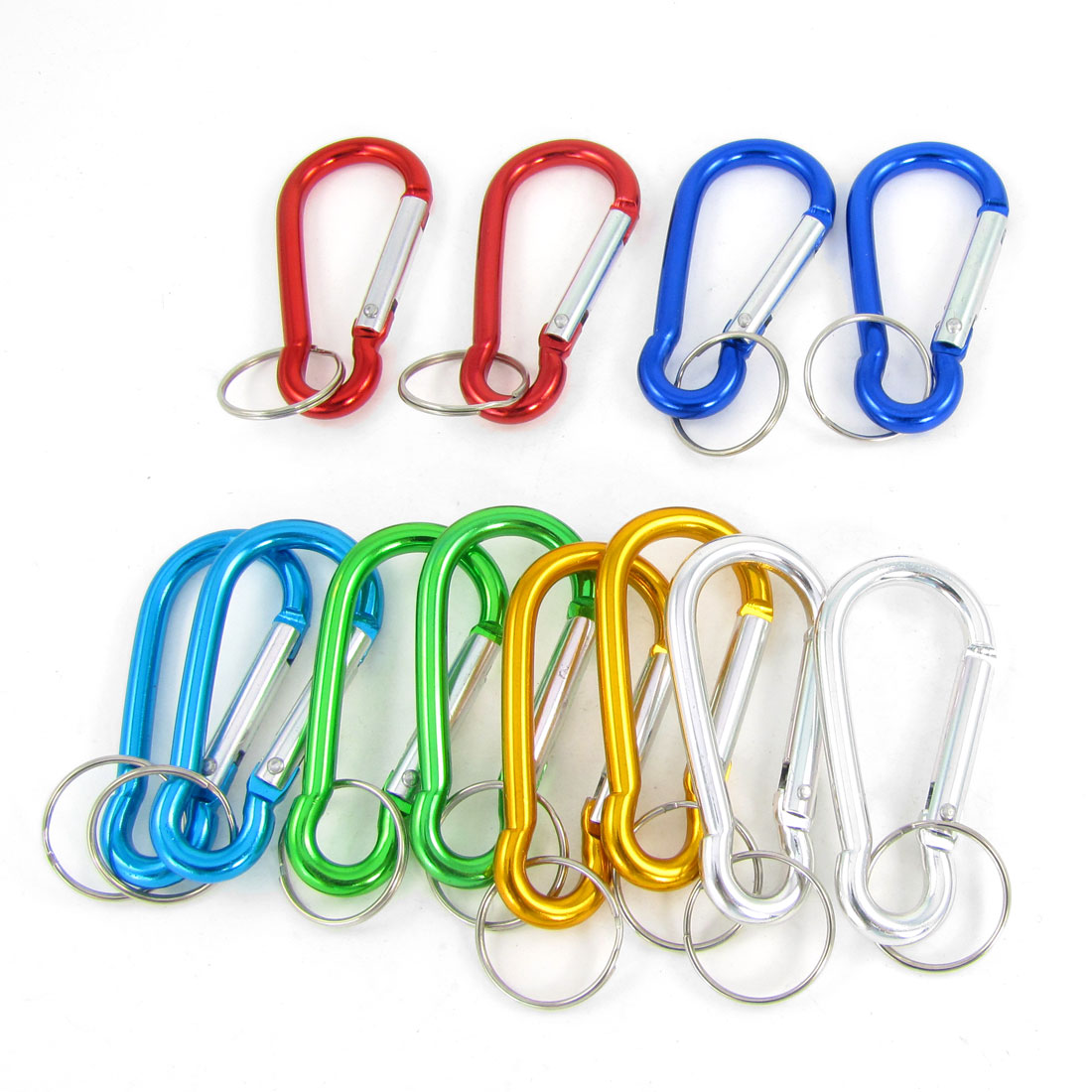 12 Pcs Assorted Color D Shaped Aluminum Alloy Snap Clip Carabiner Hooks