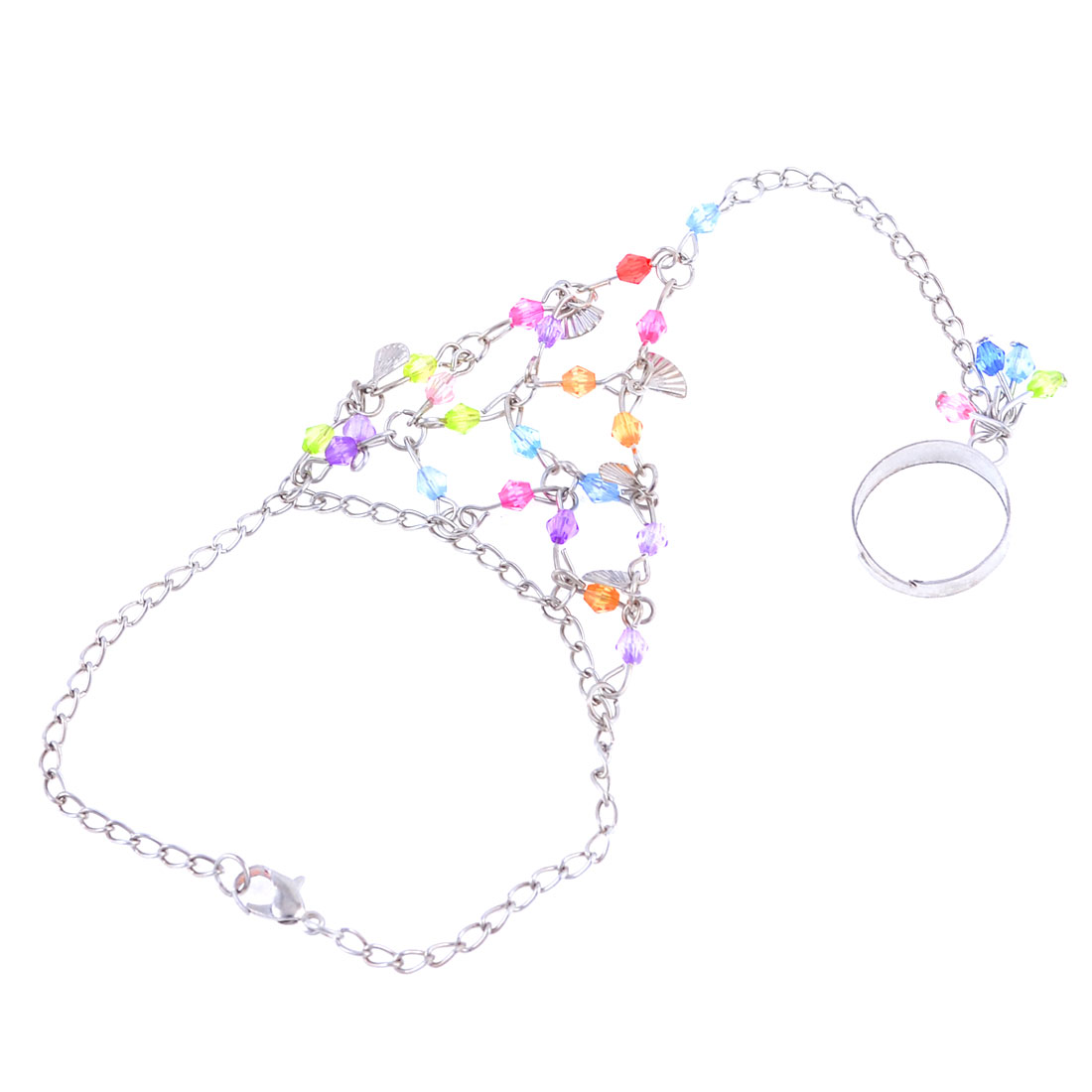 Lady Colorful Faced Beads Linked Silver Tone Plated Finger Ring Bracelet Decoration