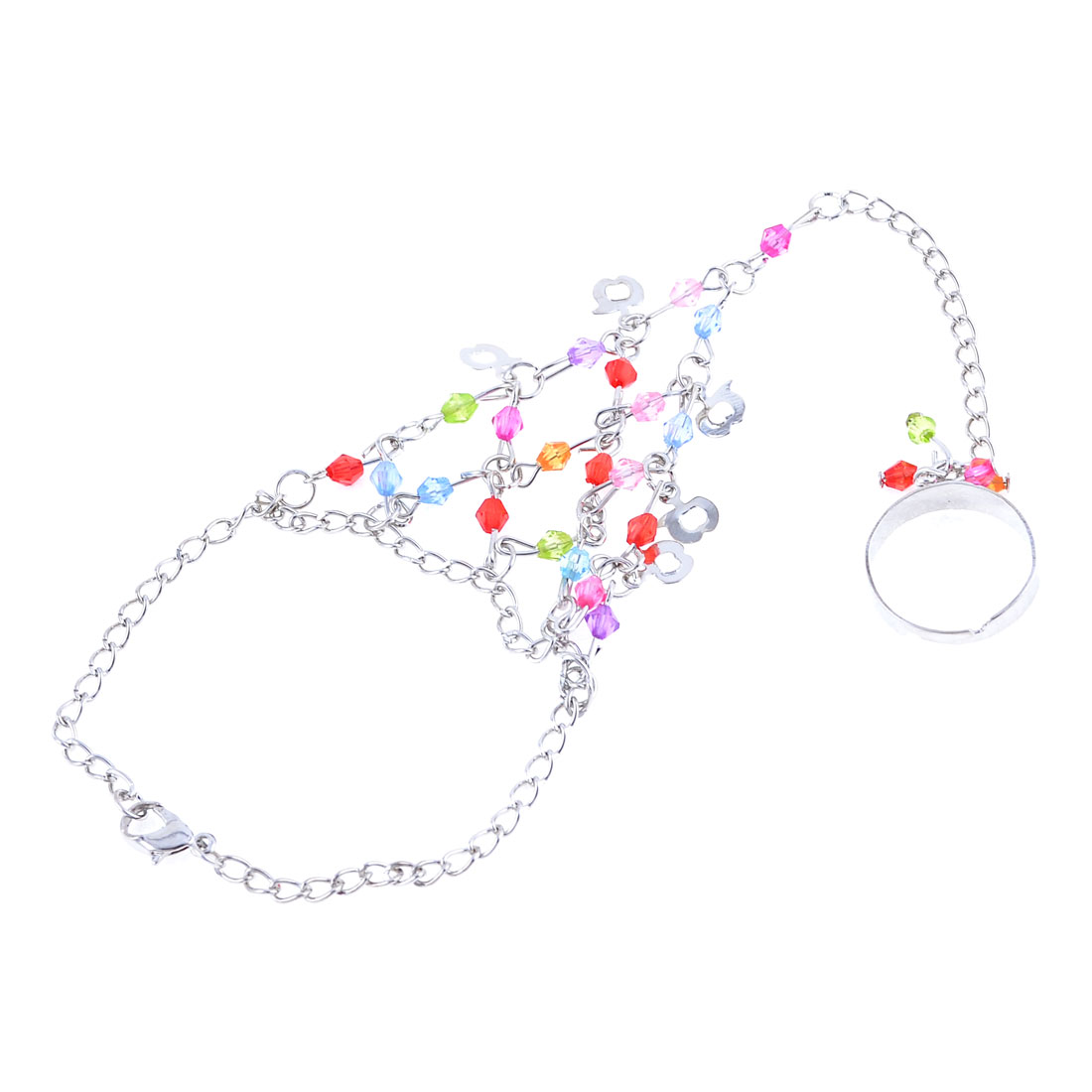 Lady Assorted Color Beads Linked Silver Tone Plated Finger Ring Bracelet Decoration