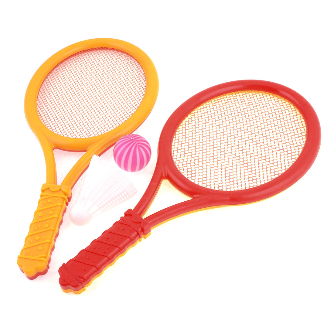 Pair Kids Game Playing Yellow Red Plastic Badminton Racket Set w Pingpong Ball