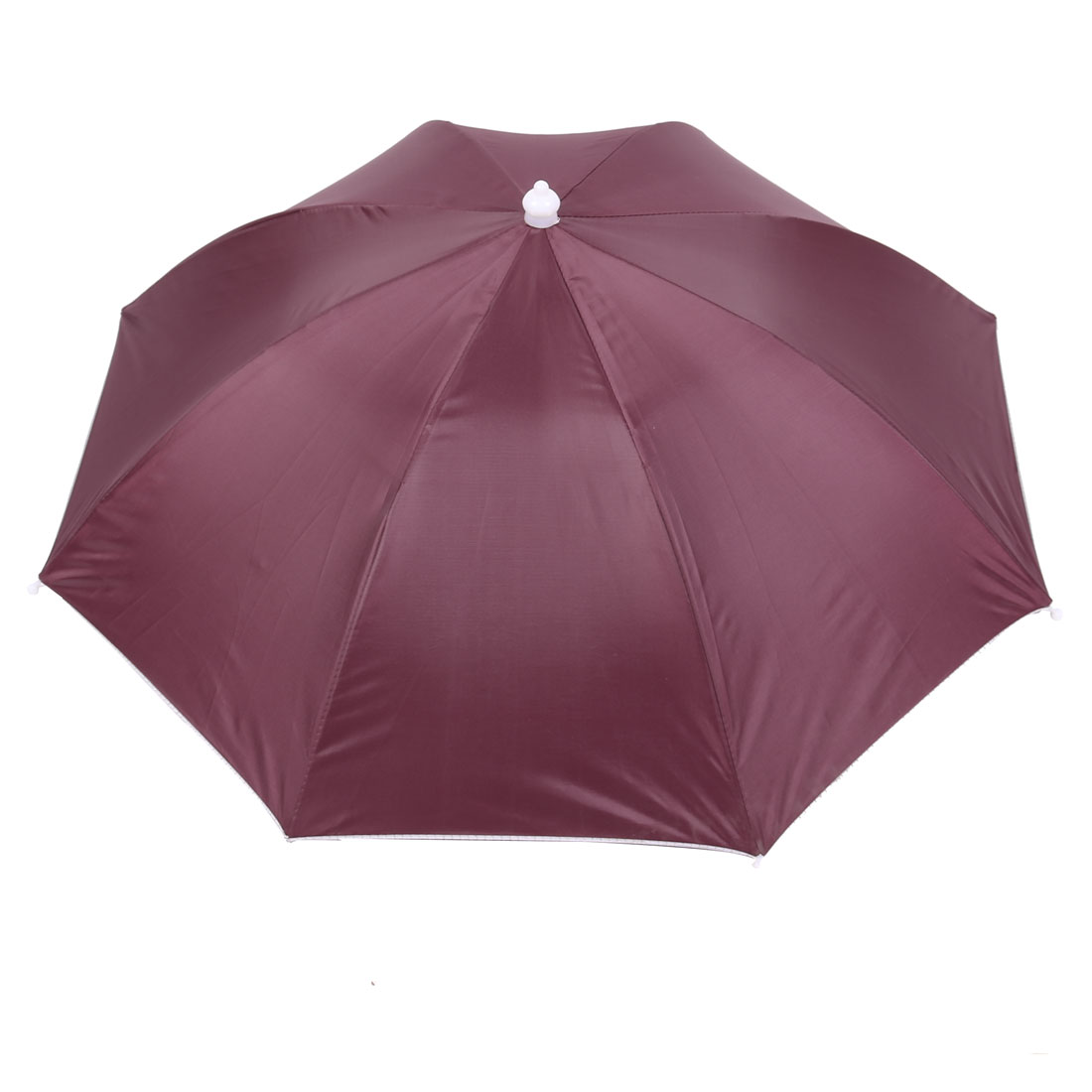 Fishing Camping Burgundy Polyester Elastic Band Foldable Sun Umbrella Hat