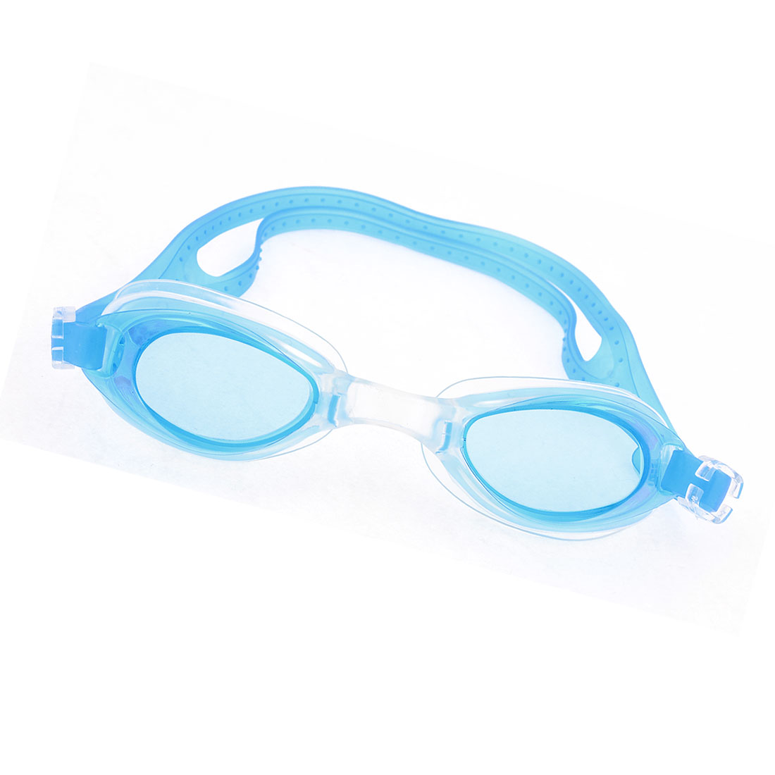 Lady Adjustable Strap Clear Blue Lens Swim Swimming Goggles Eyeglasses w Case