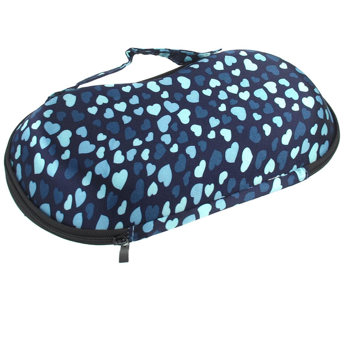 Travel Hearts Print Dark Blue Underwear Storage Box Bra Case for Ladies