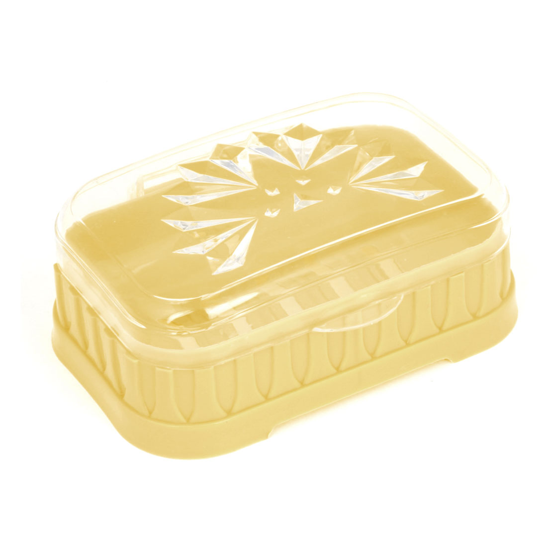Home Yellow Clear Plastic Hollow Out Bottom Soap Box