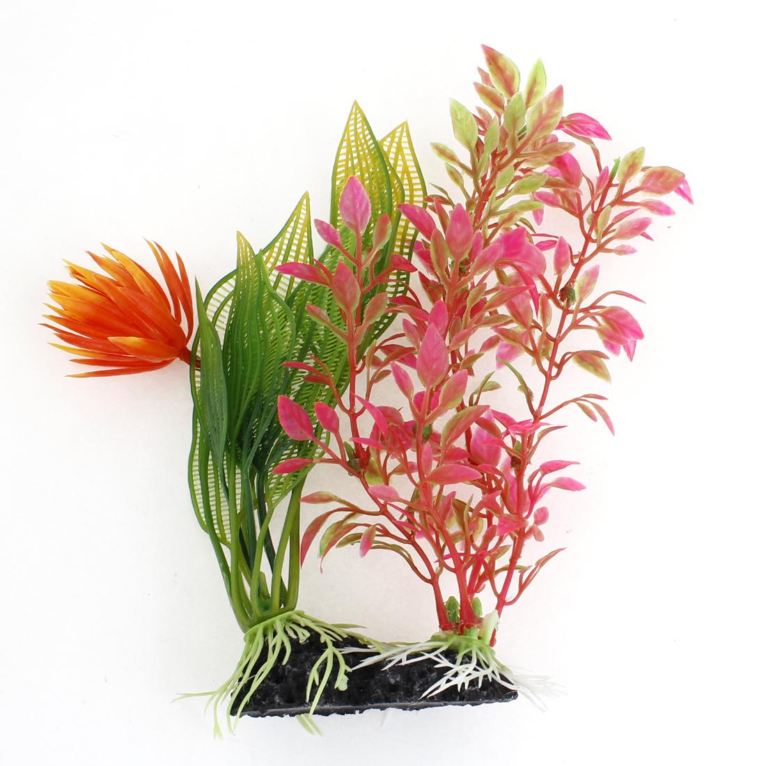 18cm Height Dark Pink Green Orange Plastic Water Grass for Fish Tank Decor