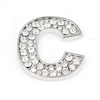 Letter C Shape Rhinestones Decor Metal Decorative Adhesive Sticker for Auto Car