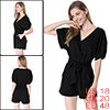 Stylish Crossover V-Neck Short Dolman Sleeve Pure Black Romper for Lady XL