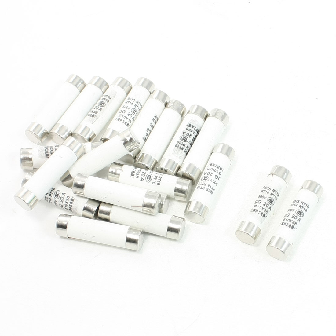 20 Pcs 500V 20A 10x38mm Cylindrical Ceramic Tube Fuses Link R015 RT14 RT18 RT19