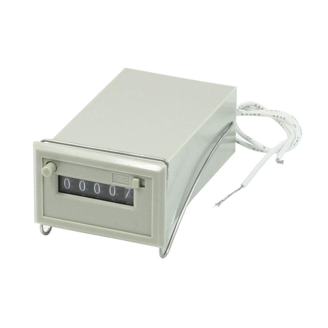 CSK5-DKW AC 220V 5 Digits 2 White Wire Lockable Electronmagnetic Counter