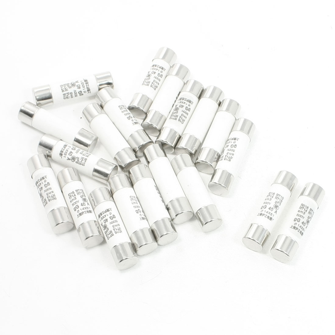 20 Pcs 500V 40A 14x51mm Cylindrical Ceramic Tube Fuses Link R016 RT14 RT18 RT19
