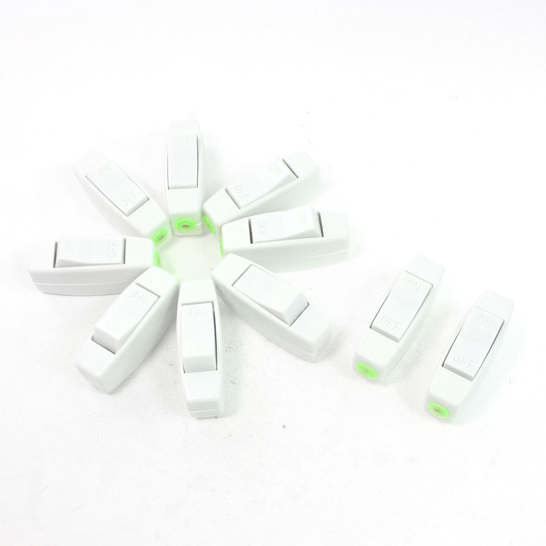 10 Pcs 250VAC 3A ON/OFF Button In Line Cord Switch White for Bedroom
