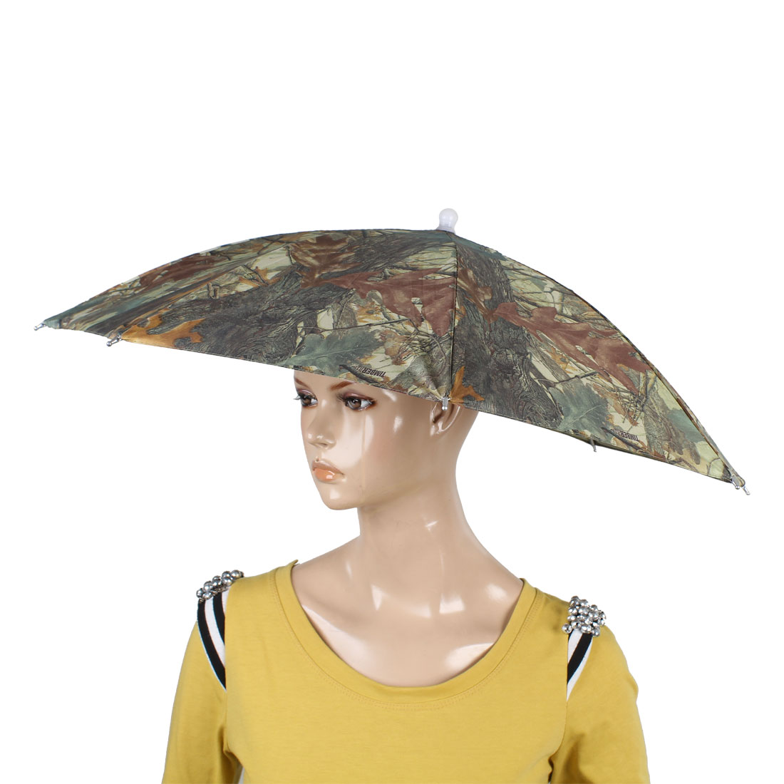 Seagreen Polyester Leaf Print Cover Fishing Sun Shading Umbrella Hat 40cm Long