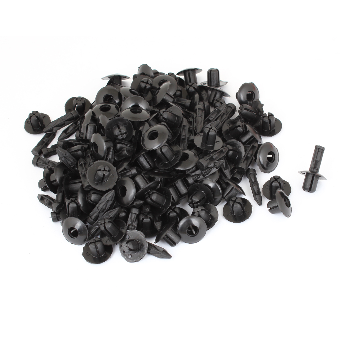 "100 Pcs Vehicle 0.28"" Hole Black Door Plastic Replacement Rivets Fastener"