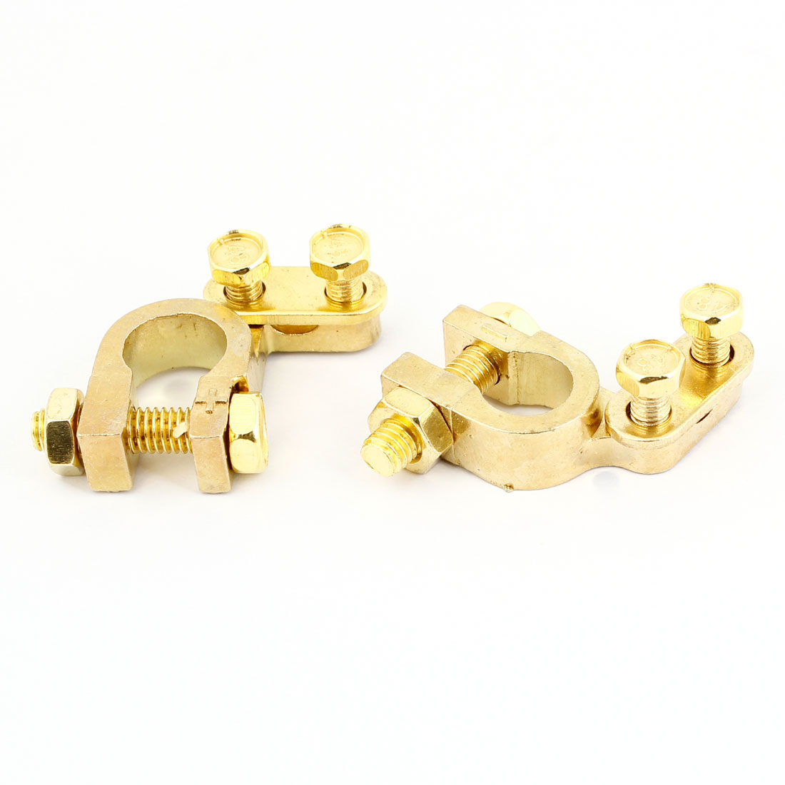 2 Pcs Aluminum Alloy Battery Terminal Clamp Clips Gold Tone for Automobile Car