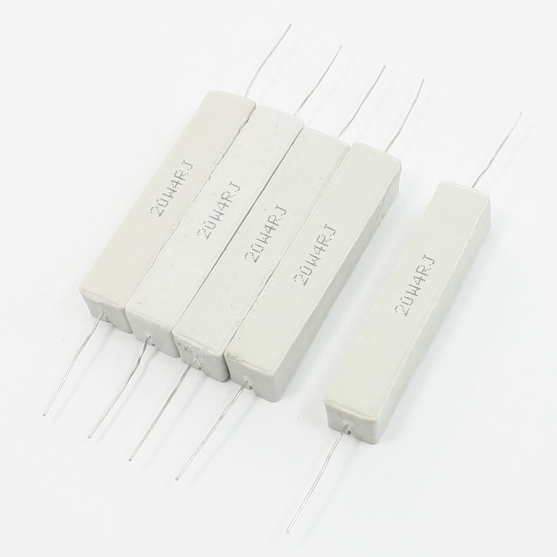 5 Pieces Radial Lead Fixed Ceramic Cement Resistor White 20W 4 Ohm