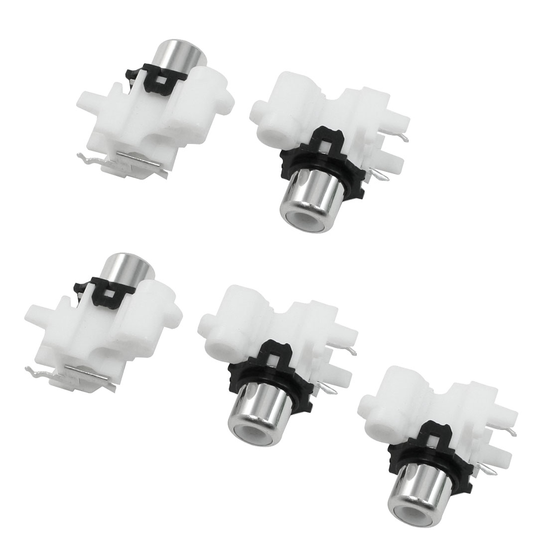 5 Pcs White Black Dual Female Jack Connector Adapter for Audio Video