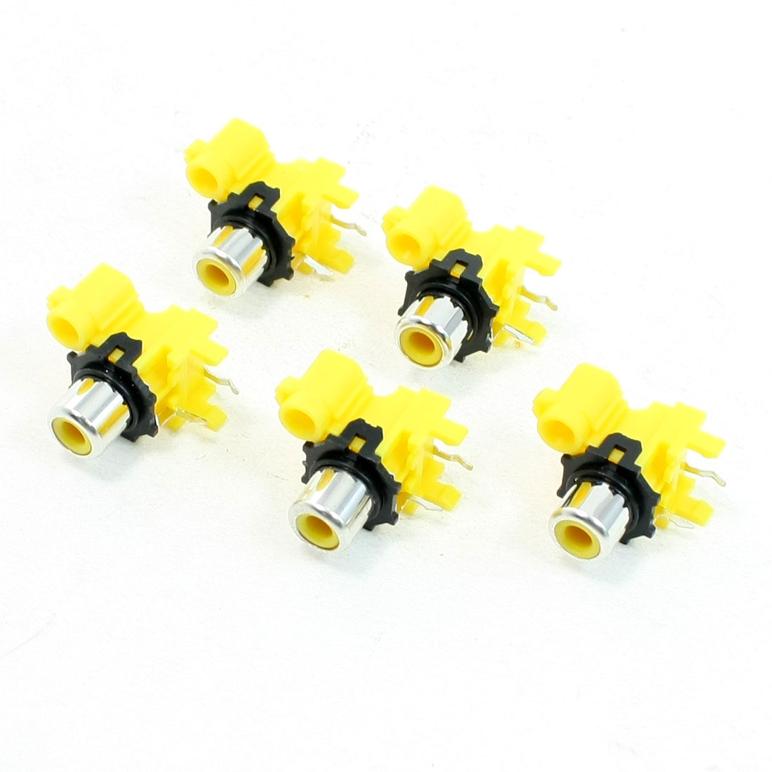 PCB Mounted RCA Audio Video Female Connector Yellow 5 Pcs