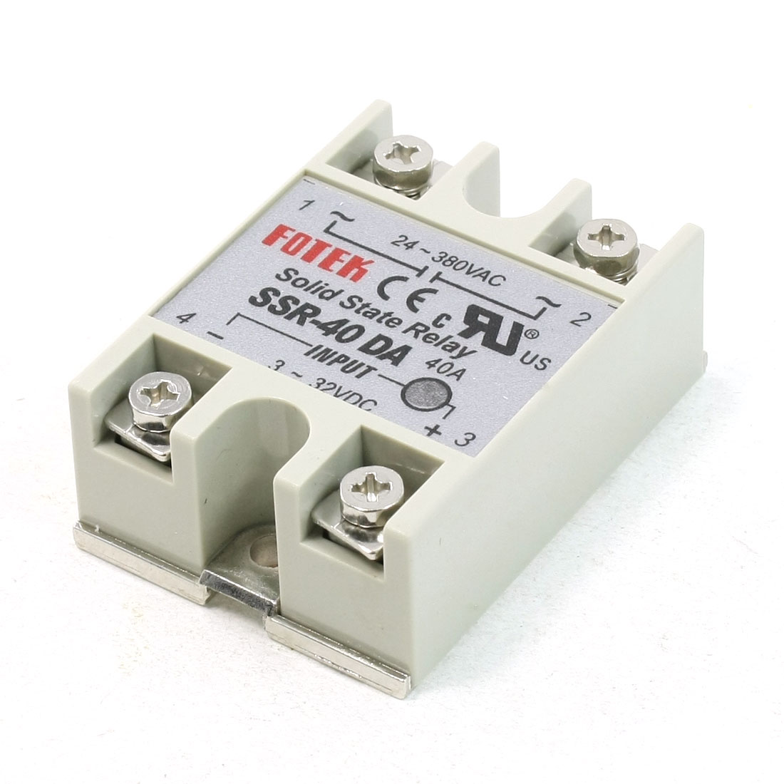 24-380VAC 3-32VDC SSR-40DA 4 Terminals DC to AC Solid State Relay