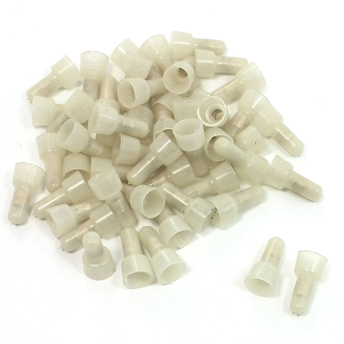 50 Pcs 3mm Tube Safe Closed End Caps Crimp Wire Connectors Guard Covers Beige