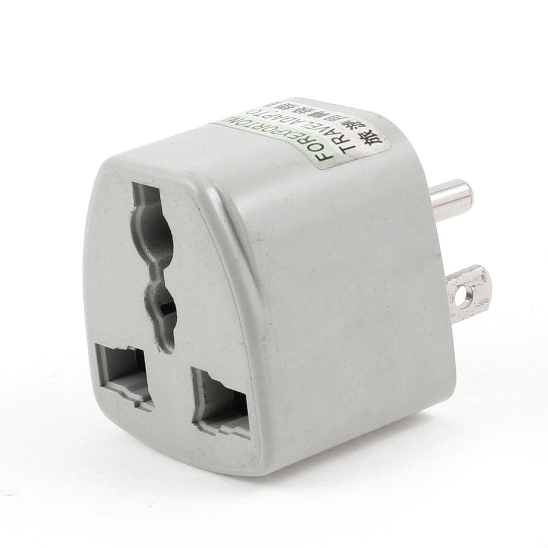 AC 250V AU EU UK to US Travel Converter AC Power Plug Adapter Gray