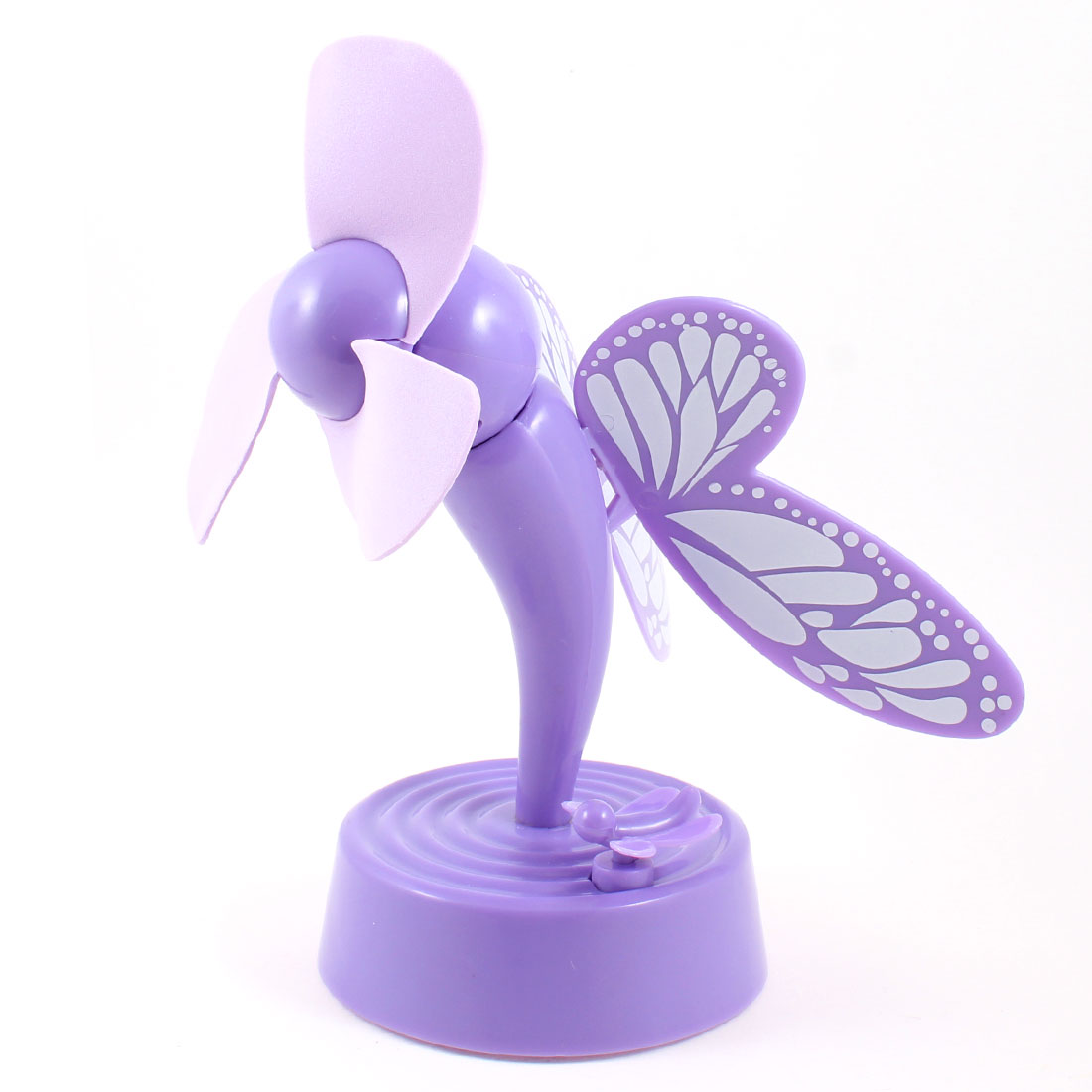 Light Purple Butterfly Design Plastic Shell 3 Foam Cutters Desktop Mini USB Fan