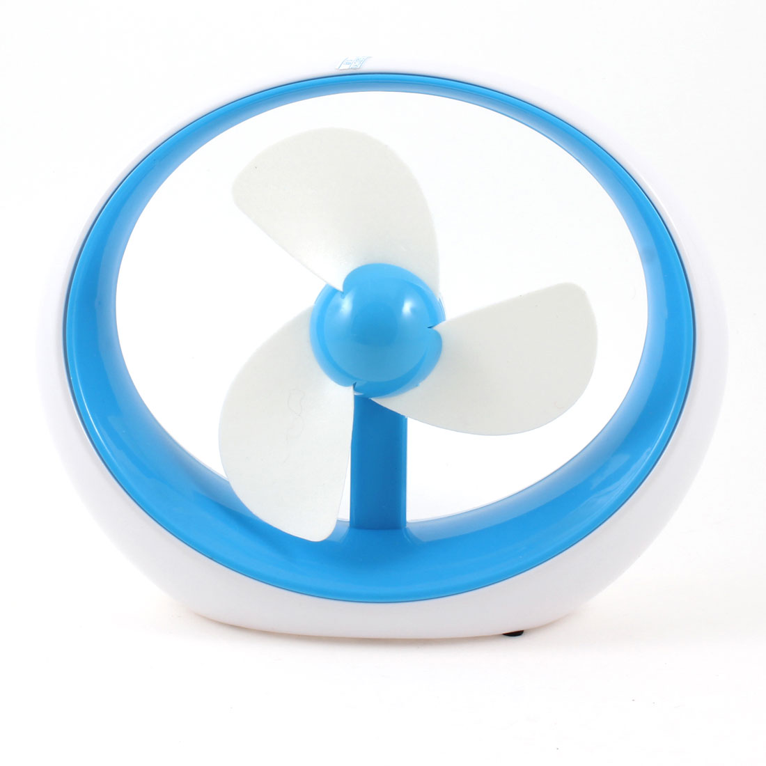 Sky Blue White Round Shape 3 Foam Cutters Desktop Mini USB Desk Fan Cooler