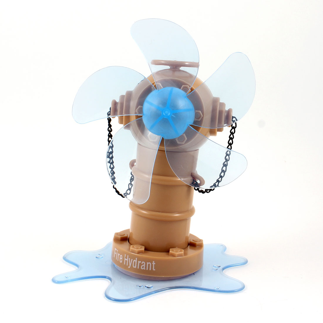 Khaki Blue Plastic Fire Hydrant Design 5 Cutters Desktop Mini USB Fan DC 5V