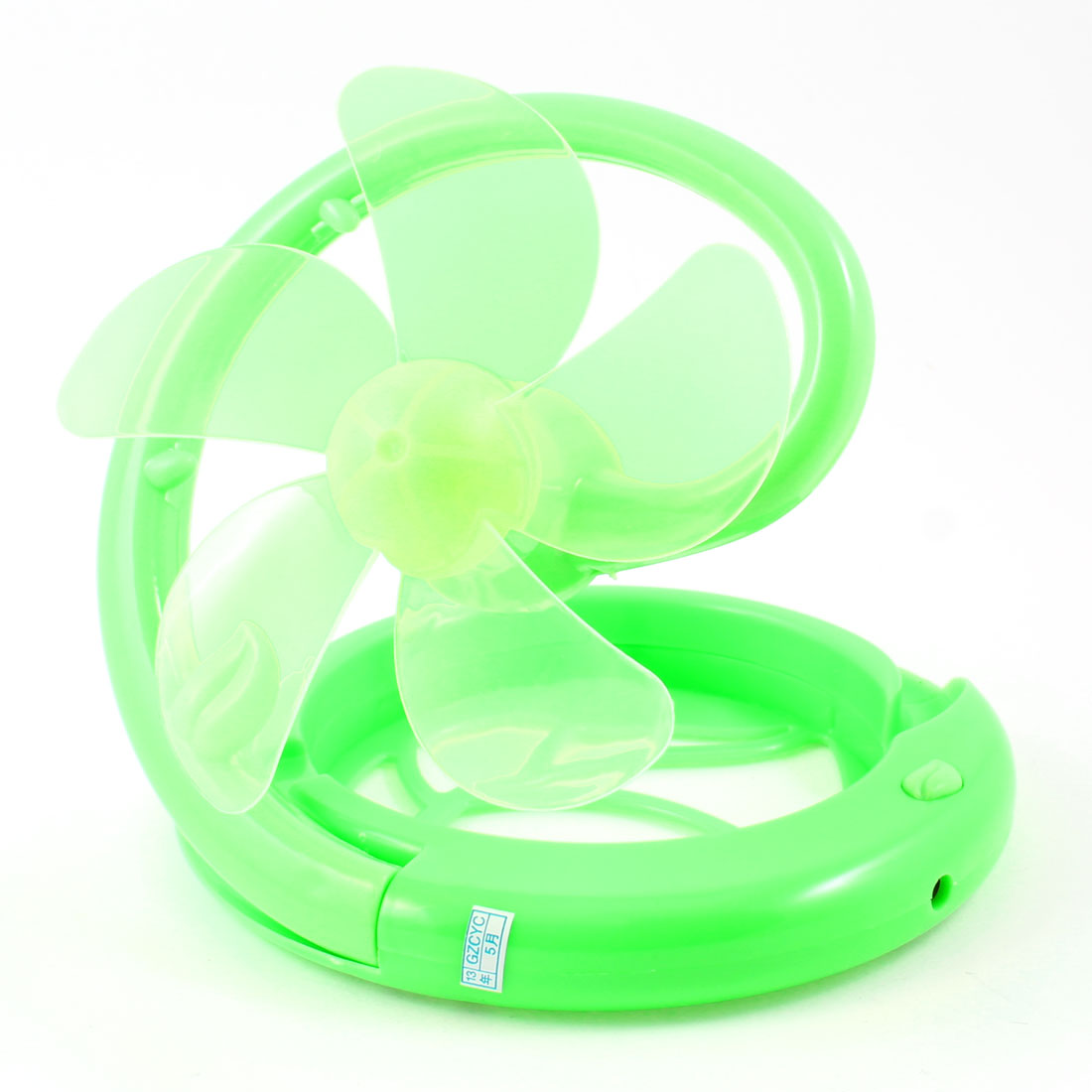 Green Hollow Leaf Round Shape 5 Cutters Desktop Mini USB Folding Fan DC 5V