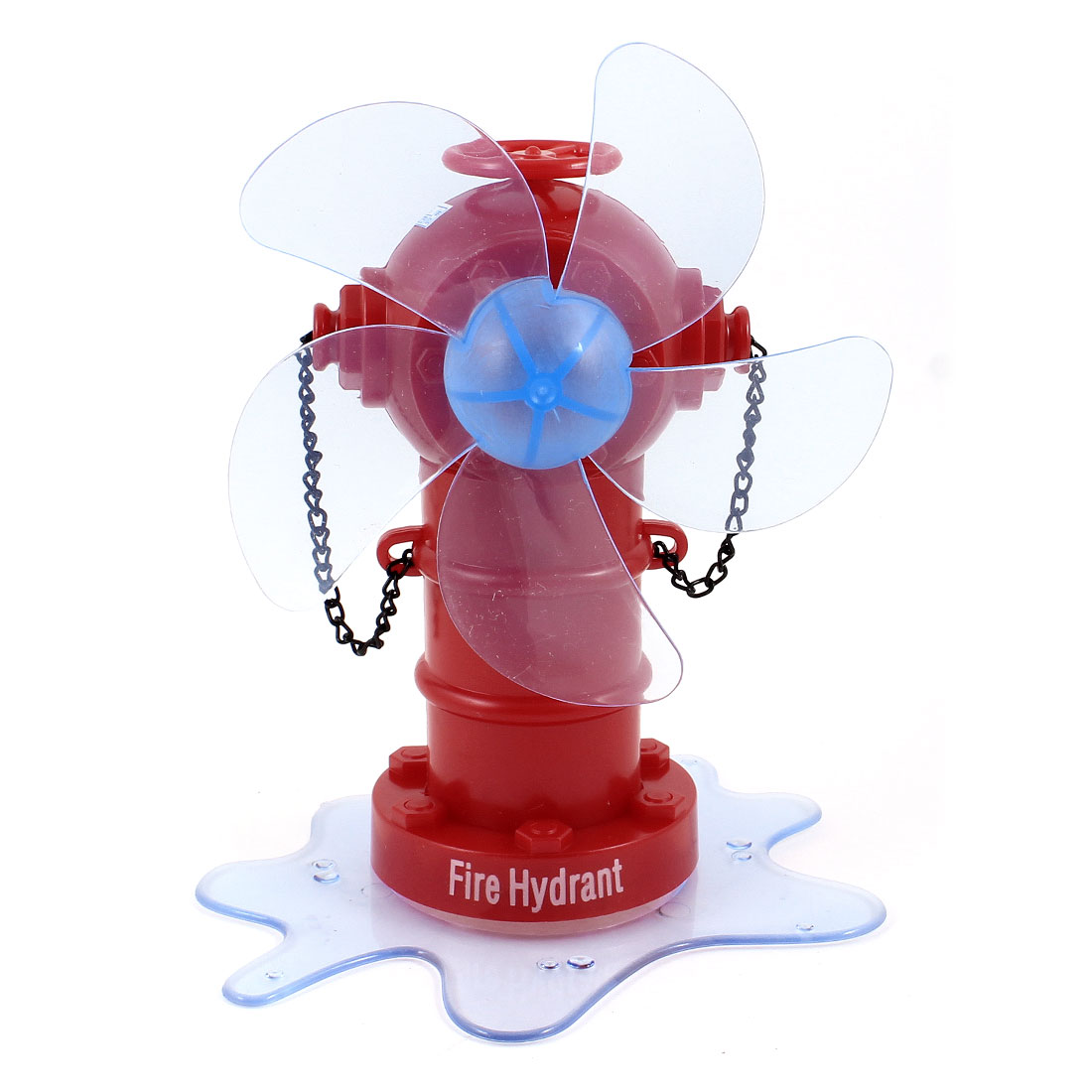 Red Blue Plastic Fire Hydrant Design 5 Cutters Desktop Mini USB Fan DC 5V