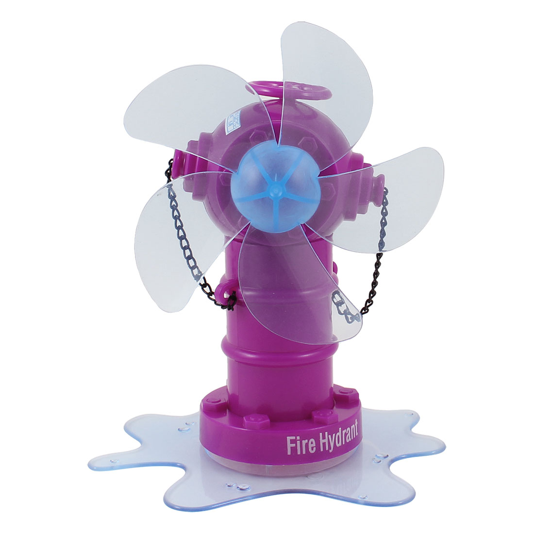 Purple Blue Plastic Fire Hydrant Design 5 Cutters Desktop Mini USB Fan DC 5V