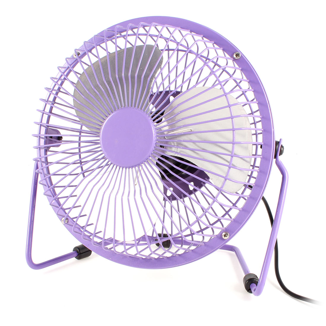 Purple Metal Shell Silver Tone Aluminum Cutter Desktop Mini USB Fan Cooler DC 5V