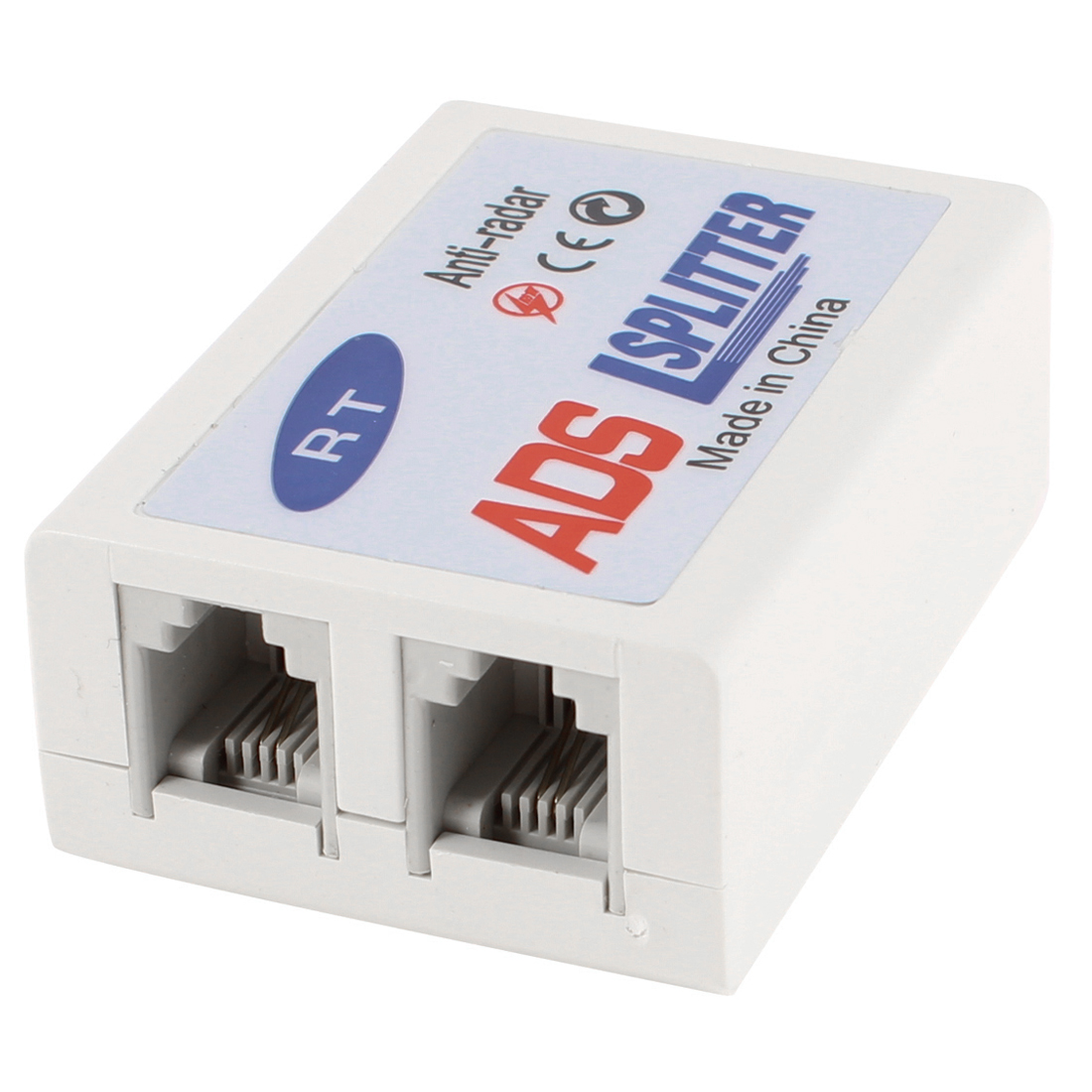 Off White 1 to 2 RJ11 6P2C Jack Socket ADSL Splitter Filter for Line Phone Modem