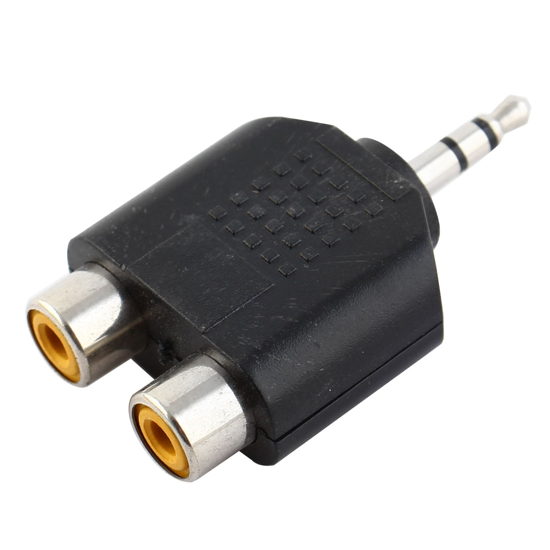3.5mm Stereo Jack Male Plug to Dual RCA Female Sockets Splitter Connector Black
