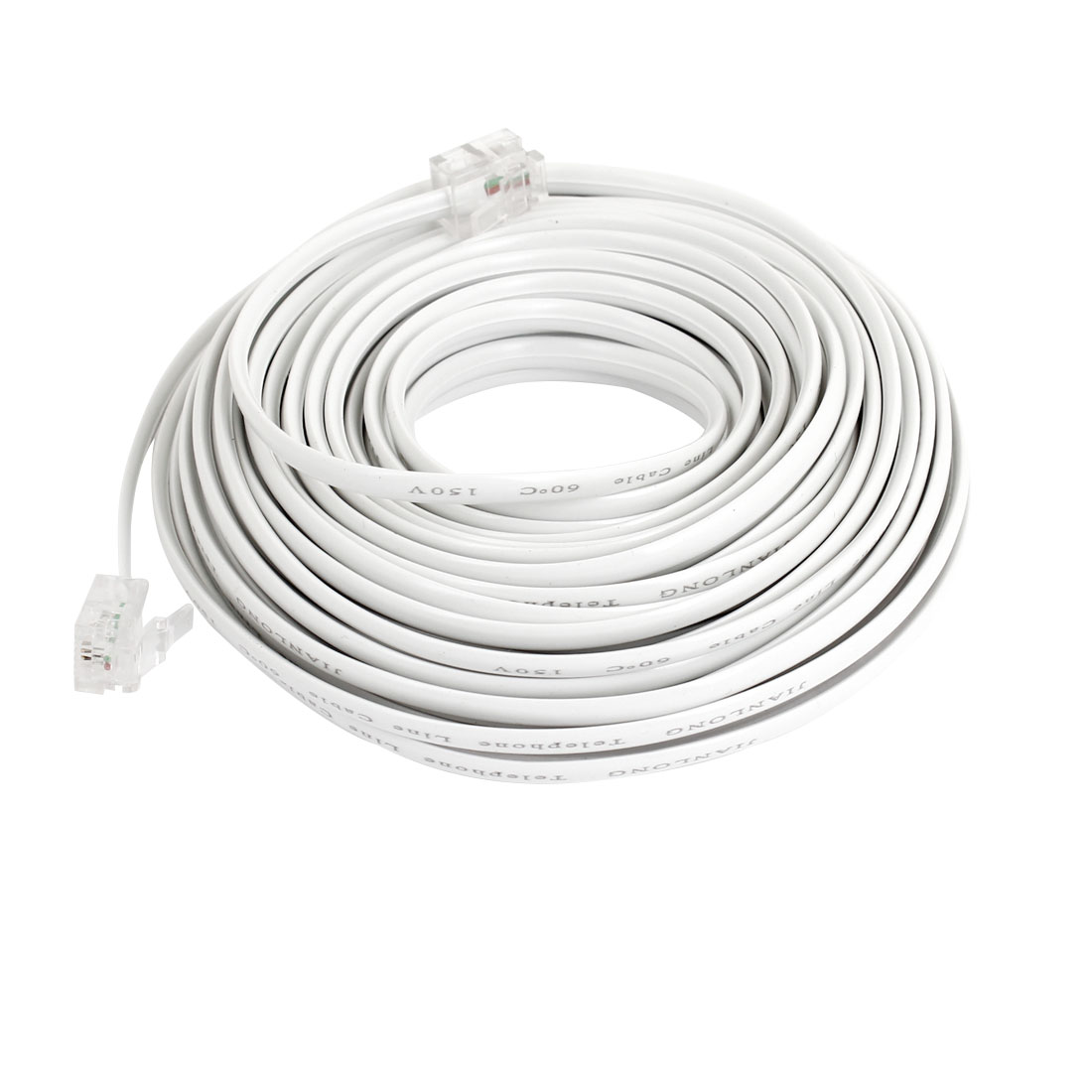 10M 32.8Ft RJ11 Telephone Extension Cable Connector White