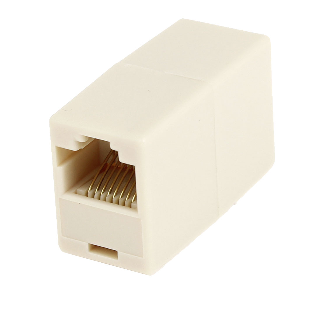 RJ45 Double Female Plug Telephone Adapter Connector Beige