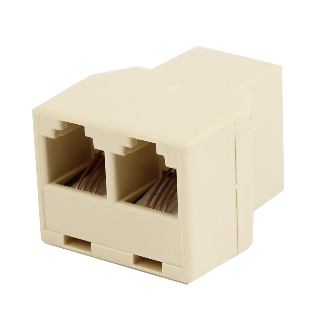 Beige Plastic RJ11 F-2F F/2F Plug Telephone Modular Splitter Joiner Connectors