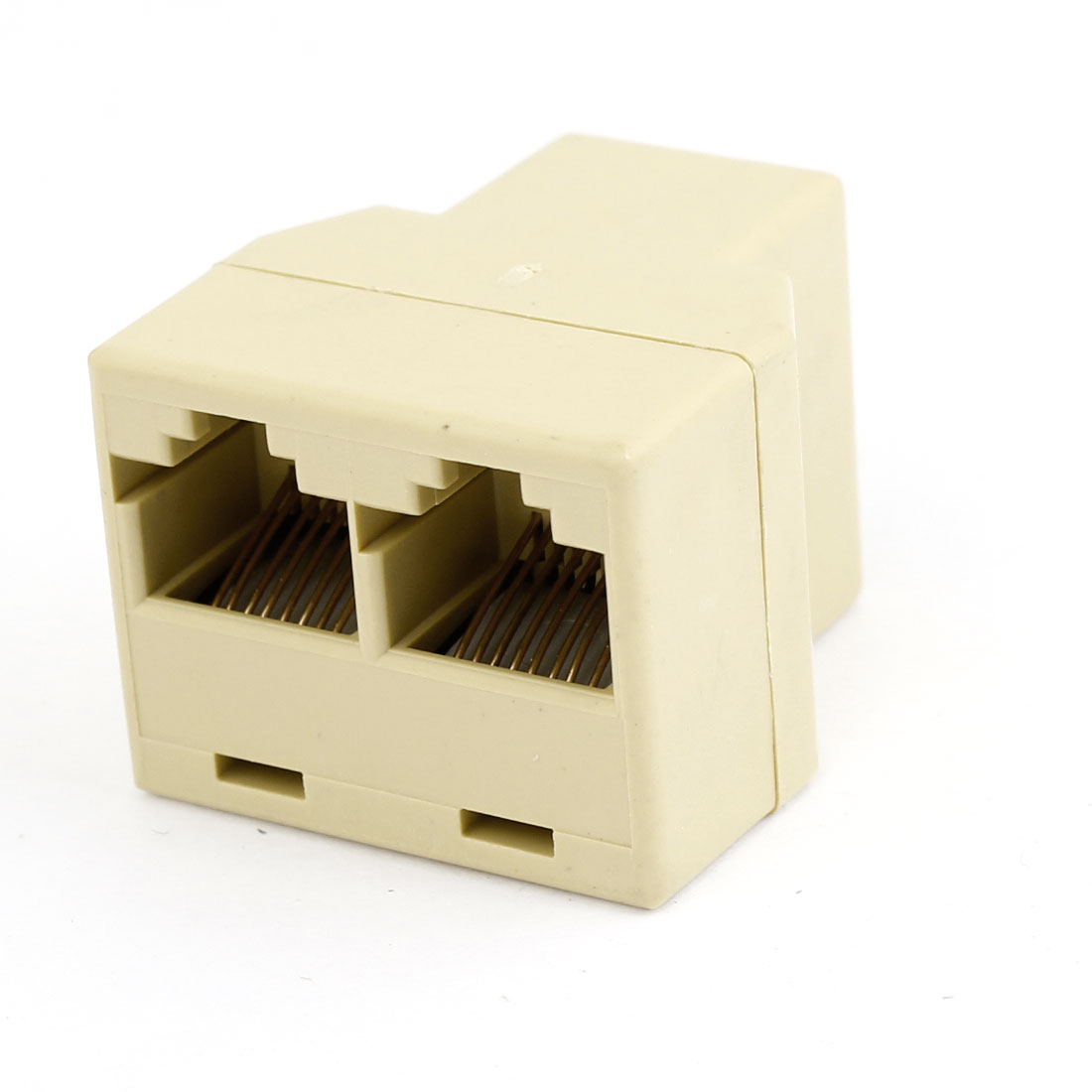 Telephone Network RJ45 Double Female Adapter Connector Beige