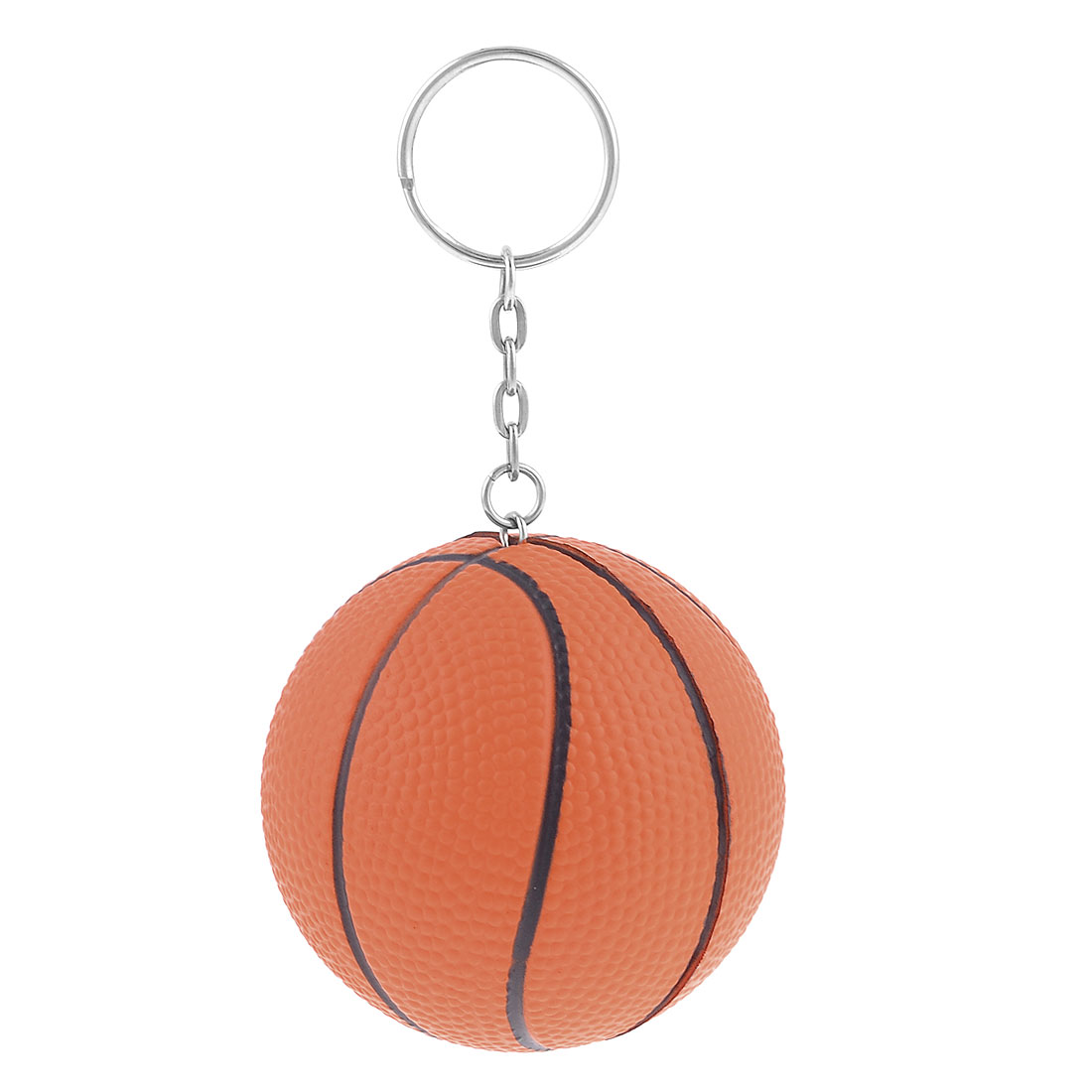 Orange Basketball Shape Decor Charm Key Chain Split Keyring